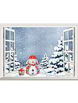 Wall Stickers Wall Decals Christmas Snowman PVC Wall Stickers
