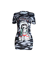 Women's Round Neck Print Club Sexy Simple Cut Out Summer Short Sleeve Long Bodycon T-shirt