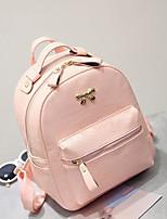 Women Backpack PU All Seasons Casual Round Zipper Blushing Pink Black Blue