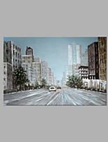 IARTS® Abstract Modern City Street View & Running Car Scenery Handmade Oil Painting On Canvas with Stretched Frame Wall Art For Home Decoration Ready