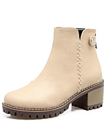 Для женщин Ботинки Удобная обувь Дерматин Осень Зима Повседневные Для праздника Для прогулок Удобная обувь Пряжки На толстом каблуке