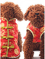 Dog Vest Dog Clothes New Year's Geometric Red