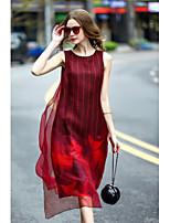 Feminino Evasê Vestido,Para Noite Casual Tamanhos Grandes Estampado Decote Redondo Médio Sem Manga Seda Verão Cintura MédiaSem