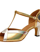 Women's Latin Faux Leather Sandals Performance Buckle Cuban Heel Gold 2