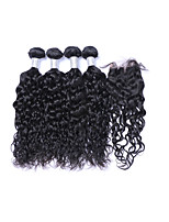Medium Size 4 pcs 400g 100% Unprocessed Natural Wave #1B Brazilian Remy Human Hair Wefts with 1Pcs 4x4 Lace Top Closures Human Hair Extensions/Weaves