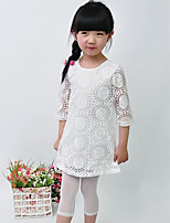 Girl's Fashion And Lovely  Sleeve In The Hollow Out Lace Embroidery Dress