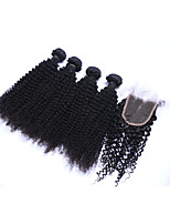 100% Unprocessed Medium Size 4pcs 400g Kinky Curly #1B Brazilian Remy Human Hair Wefts with 1Pcs 4x4 Lace Top Closures Human Hair Extensions/Weaves