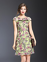 JOJO HANS Women's Party Going out Sexy Chinoiserie Sophisticated Sheath DressFlower/Floral Round Neck Above Knee Short Sleeve Polyester SummerHigh