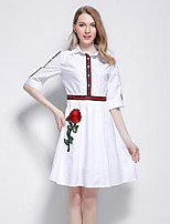 Women's Party Plus Size Beach Holiday Going out Casual/Daily Vintage Simple Cute A Line Loose Dress,Solid Flower/Floral Shirt Collar