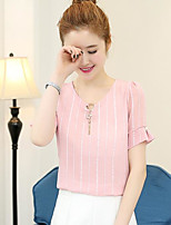 Women's Going out Street chic Blouse,Solid Round Neck Short Sleeve Others