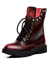 Для женщин Ботинки Мотоциклетные ботинки Наппа Leather Весна Лето Повседневные Мотоциклетные ботинки Заклепки На низком каблукеЧерный