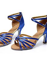 Women's Latin Silk Sandals Indoor Customized Heel Blue Customizable