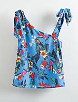 Feminino Camisa Social Casual Vintage Geométrica Estampado Chiffon Decote Canoa Sem Manga