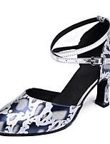 Для женщин Танцевальные кроссовки Коровья замша Сандалии Кроссовки Для закрытой площадки На толстом каблуке Белый 5 - 6,8 см