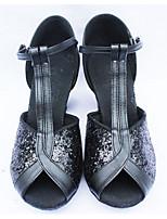 Women's Latin Paillette Glitter Heels Practice Silver Black Gold