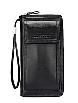 Men Clutch Cowhide All Seasons Casual Outdoor Rectangle Zipper Brown Black
