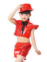 Jazz Outfits Kid's Performance Polyester Paillettes 2 Pieces Short Sleeve High Tops Shorts