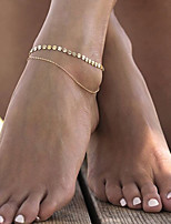 Women's Simple Summer Geometric Copper Sequins Double Chain Anklet Foot Chain Anklet/Bracelet Alloy Fashion Jewelry For Casual Leisure Sports
