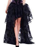 Shaperdiva Black Vintage Floral Print High Low Steampunk Maxi Skirts