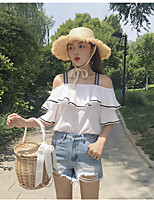 Women's Going out Casual/Daily Cute Summer Blouse,Solid Boat Neck Sleeveless Others