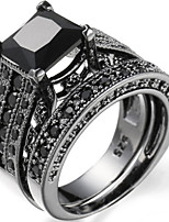 Ring Women's Euramerican Luxury Personalized Creative Detachable Black Square Cut Zircon Ring Daily Party  Movie Business Gift Jewelry