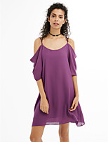 Women's Plus Size Beach Going out Casual/Daily Sexy Simple A Line Chiffon DressSolid Strap Above Knee Short Sleeve Chiffon Spring Summer