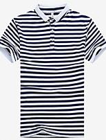 Для мужчин Для вечеринок День рождения Офис / Карьера Повседневные Лето Polo Рубашечный воротник,Простое Активный Однотонный ПолоскиС