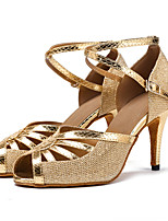 Customizable Heels Women's Latin Dance Shoes Ballroom/Salsa Dancing Shoes Sandals Heels Indoor Buckle Silver Black Gold1 - 1 3/4 2 - 2 3/4 3 -