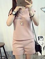 T-shirt Pantalone Completi abbigliamento Da donna Casual Semplice Estate,Tinta unita Rotonda Manica corta