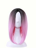 Raie Centrale Perruques naturelles Synthétique Perruques Court Moyen Gris Rose Violet Vert Cheveux