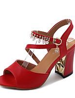 Damen High Heels Fersenriemen TPU Sommer Normal Kleid Party & Festivität Walking Fersenriemen Strass Blockabsatz Weiß Schwarz Rot 5 - 7 cm