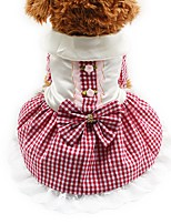 Cat Dog Tuxedo Dress Dog Clothes Party Casual/Daily Wedding Plaid/Check Blushing Pink Blue Ruby