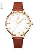 SK Women's Fashion Watch Wrist watch Chinese Quartz Shock Resistant Large Dial PU Band Casual Luxury Minimalist Brown
