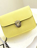 Women Shoulder Bag PU Polyester All Seasons Casual Outdoor Round Button Pinky Yellow Red Black