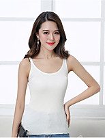 Women's Daily Casual Simple Tank Top,Solid Round Neck Sleeveless Cotton