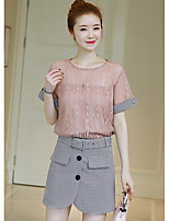 Women's Other Casual Other Summer Blouse Skirt Suits,Solid Striped Round Neck Short Sleeve