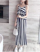 Women's Casual Casual Summer T-shirt Pant Suits,Striped Strap Sleeveless Micro-elastic