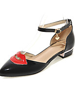 Women's Flats Comfort Patent Leather Summer Casual Dress Comfort Hollow-out Flat Heel Black White Flat