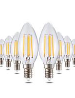 4W LED лампы в форме свечи C35 4 COB 300-400 lm Тёплый белый Диммируемая Декоративная AC 220-240 V 10 шт.