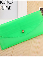 Women Checkbook Wallet Silica Gel All Seasons Casual Rectangle Button Green Yellow Aquamarine