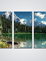 Stretched Canvas Print Green Lake Landscape Modern  Wall Decor Artwork For Livingroom