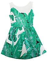 Girls  Green Leaves Dress Party Pageant Summer and Autumn Kids Clothing