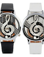 Women's Fashion Watch Casual Watch Notes Quartz Leather Band Casual Black White