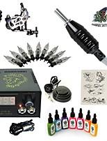kit tatuaggio avviamento 1 x macchina in acciaio per linee e ombre LCD alimentazione 5 x ago RL 3 Kit completo