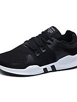 Для мужчин Кеды Удобная обувь Тюль Весна Осень Атлетический Повседневные На плоской подошве Белый Черный Черно-белый На плоской подошве