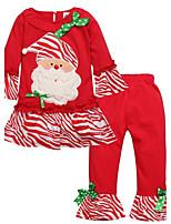 Girls' Print SetsCotton All Seasons Long Sleeve Christmas Clothing Set