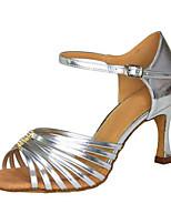 Damen Latin Kunstleder Sandalen Sneakers Professionell Strass Verschlussschnalle Niedriger Heel Silber 5 - 6,8 cm Maßfertigung