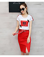 Women's Daily Casual Casual Summer T-shirt Skirt Suits,Solid Print Round Neck Short Sleeve Micro-elastic