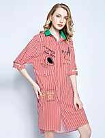 Women's Plus Size Beach Holiday Going out Casual/Daily Sexy Simple Cute Loose Sheath Dress,Striped Cartoon Embroidered Shirt Collar