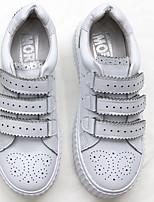 Для женщин Мокасины и Свитер Удобная обувь Кожа Весна Повседневные Удобная обувь Белый Черный На плоской подошве